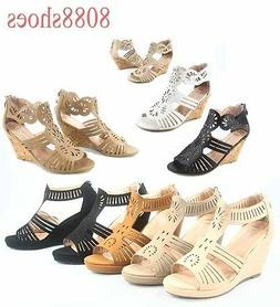 Women's OpenToe Wedge Heel Plaform Ankle Strap Sandals Shoes