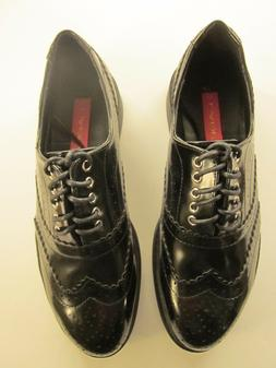 Women's C Label Oxford Shoes Black Wedge Heel Size 8.5 Lace