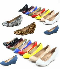 Women's Patent Round Open  Toe Low Wedge Platform Low Heel S