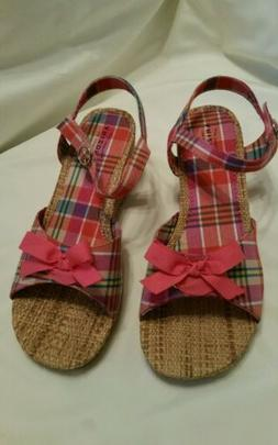 women s pink plaid wedge strappy sandal