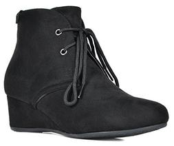 DREAM PAIRS Women's Ramona Black Low Wedge Heel Ankle Bootie