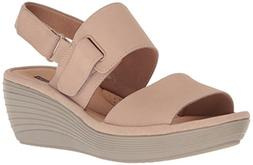 CLARKS Women's Reedly Breen Wedge Sandal, Sand Nubuck, 7.5 M