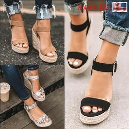 Women's Sandals Wedge High Heels Straw Platform Ladies Open