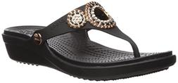 Crocs Women's Sanrah Diamante Wedge Flip W Sandal, Black/Ros