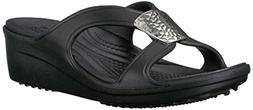 crocs Women's Sanrah Embellished Wedge Sandal, Black/Silver