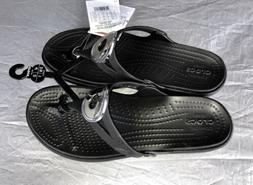 Women's Crocs Sanrah Metallic Wedge Flip Flops Black  7 NWT
