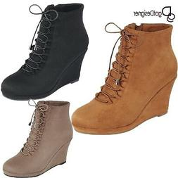 Women's Shoes Lace Up Wedge Pump Ankle Black Suede Booties S