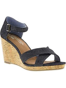 TOMS Women's Sienna Wedge Black Denim 8 B US