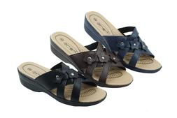 Women's Slip-On Low Wedge Comfort Sandals Artificial Leather