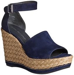 Stuart Weitzman Women's Sohogal Wedge Sandal, Nice Blue, 8 M