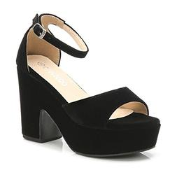 CAMSSOO Women's Solid Color Open Toe Ankle Strap High Heels