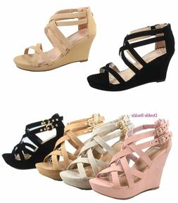 Women's Zipper  Strappy Ankly Strap  Buckles Wedge Sandal Sh