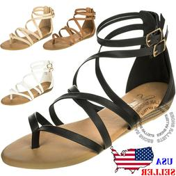 Women's Strappy Crisscross Gladiator Low Flat Heel Summer We
