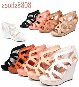 Women's Strappy Open Toe Low High Wedge Sandal Shoes 4 Color