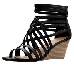 OLIVIA K Women's Strappy Woven Wedge Sandals - Sexy Open Toe