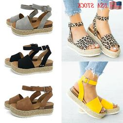 Women's Summer Beach Sandals Ladies Wedge Med Heels Straw Pl