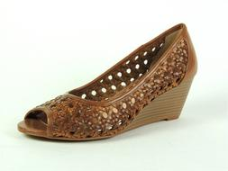 BCBGeneration Women's Tylar Wedge Open-Toe Pumps Brown Size