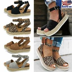 Women's Wedge Heels Ankle Strap Sandals Ladies Casual Open T