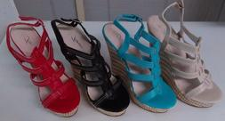 Women's Forever Wedge Sandals Beige, Black, Red ,Turquoise