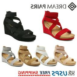 DREAM PAIRS Women's Wedge Sandals Elastic Ankle Strap Open T