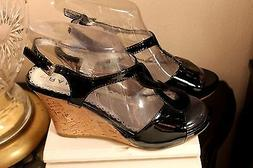 RAMPAGE WOMEN'S  WEDGE SANDALS SIZE-6,5 M BLACK PATENT LEATH