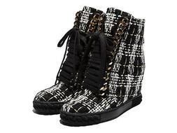 Casadei women's wedges ankle boots in black and white fabric