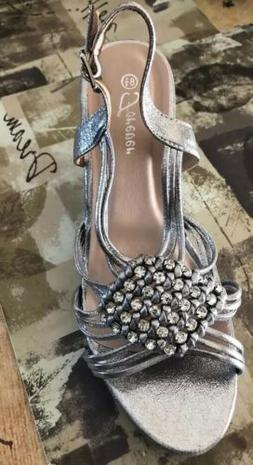 Women Shoes Wedges size 8.5  Silver Metallic, High Heels By