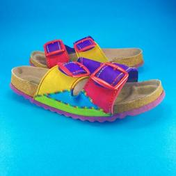 Bjorndal Womens 7 Colorful Rainbow Adjustable Strap Sandals
