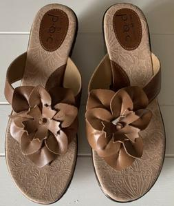 BOC Women's 8 M Brown Leather Sandals Wedge Floral Thong S