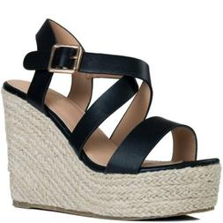 Womens Adjustable Buckle Wedge Heel Espadrille Sandals Pumps