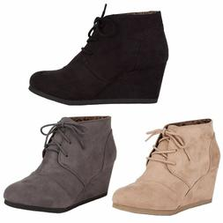 Womens Ankle Booties Lace Up Wedge High Heel  Boots Shoes Ci