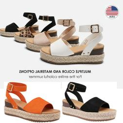 Womens Espadrille Platform Wedge Sandals Ankle Strap Open To