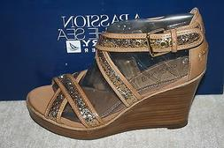 WOMENS SPERRY HARBORDALE GOLD GLITTER WEDGE HEELS US SIZE 5.
