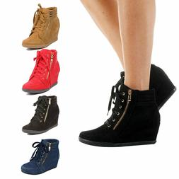 Womens High Fashion Wedge Heel Shoes Lace Up High Top Stylis