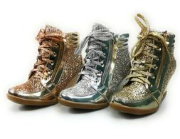 womens high top metallic glitter wedge sneaker