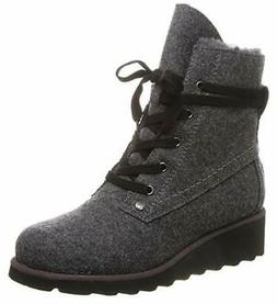 BEARPAW - Womens Krista Solids Boots Gray Lace up Fur Lined