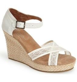 TOMS Womens Lace & Grosgrain Ribbon Wedge Wedding Sandals Sz