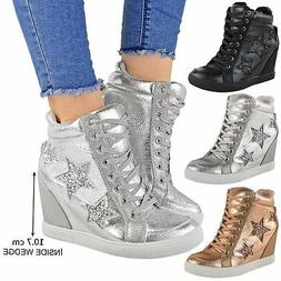 Womens Ladies Hidden Wedge Lace Up Trainers High Top Sneaker