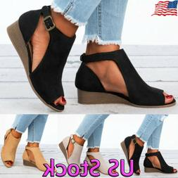 Womens Ladies Peep Toe Wedge Sandals Buckle Ankle Strap Casu