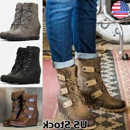 Womens Leather High Wedge Heel Ankle Boots Ladies Lace Up Sh