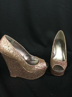 Charlotte Russe Womens New Solid Rose Gold Metallic High Wed