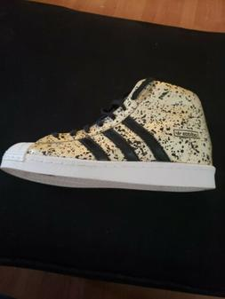 ADIDAS Women's Originals Superstar Wedge-up gold leather S