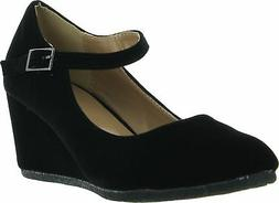 Forever Link Womens PATRICIA-05 Mary Jane Strap Faux Suede W