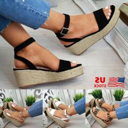 WOMENS PLATFORM LOW HEEL WEDGE SANDALS LADIES ESPADRILLES SU