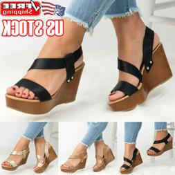 Womens Platform Wedge Heels Sandals Ladies Summer Casual Ank