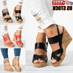 Womens Platform Wedge Sandals Ankle Strap Summer Casual Espa
