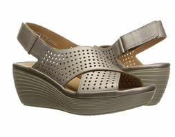 Womens Clarks Reedly Variel Leather Metallic Wedge Sandals 9