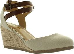 Soda Womens Request Closed Toe Espadrille Wedge Sandal in Na