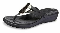 Crocs Womens Sanrah Liquid Metallic Wedge Flip