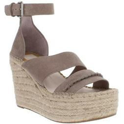 Dolce Vita Womens Simi Beige Suede Strappy Wedges Shoes 8 Me